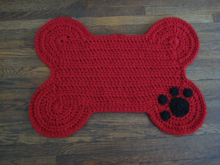 Crochet pattern dog bone placemat pet food bowl floor
