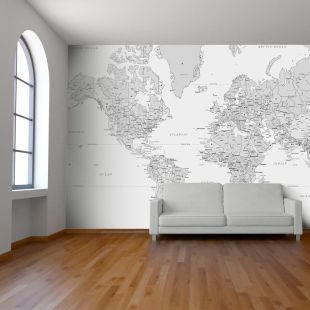 Black And White World Map Wall
