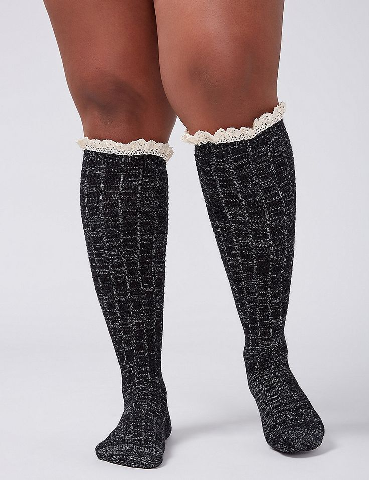 Plus Size Wide Calf Boot Socks with Lace