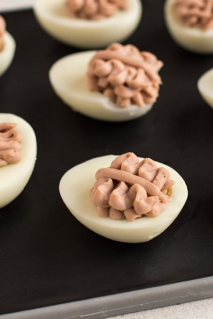 Left It to the Last Minute to Prepare Your Halloween Snacks? Deviled Egg Brains Are the Perfect Solution via Brit + Co