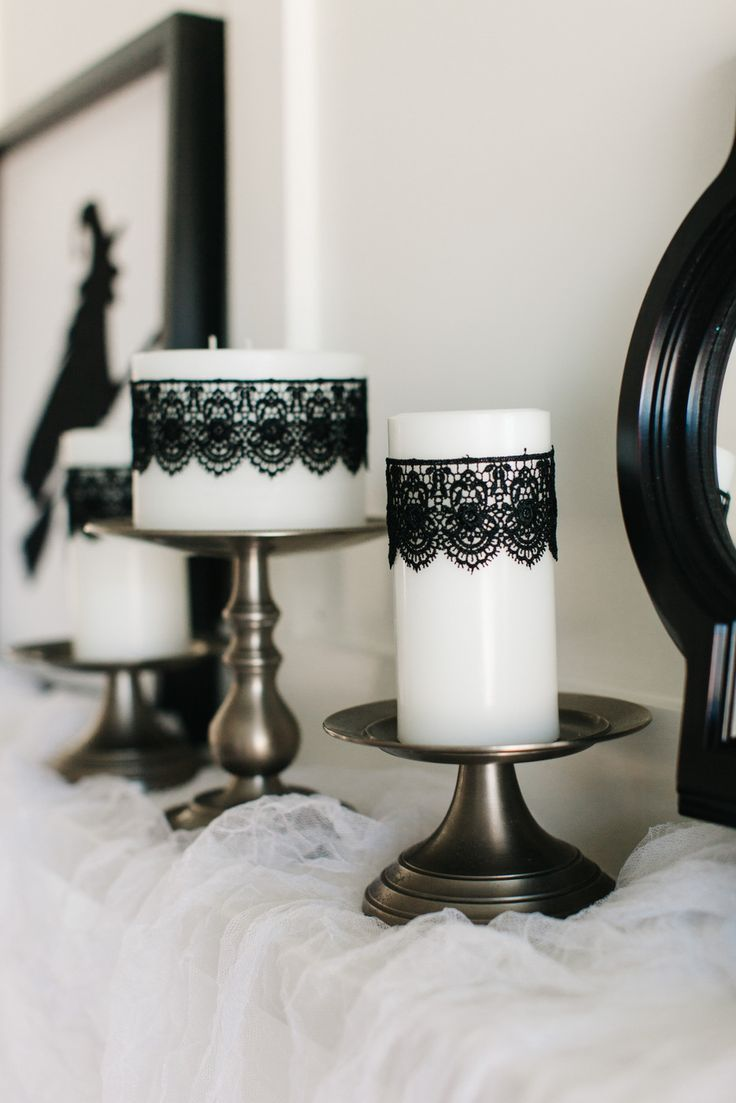 Add Black Lace to White Pillar Candles    The TomKat Studio   How to Style a Glam Halloween Mantel…