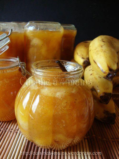 confiture de bananes 3 640 g de chair de bananes(~ 6 bananes) 160 g de cassonade 160 g de sucre blanc le jus d'1 citron 1 gousse de vanille 1 pincée de cannelle en poudree lendemain, versez dans une grande bassine à fond épais cuire à feu doux en mélangeant régulièrement, pendant 30 min à partir du frémissement.
