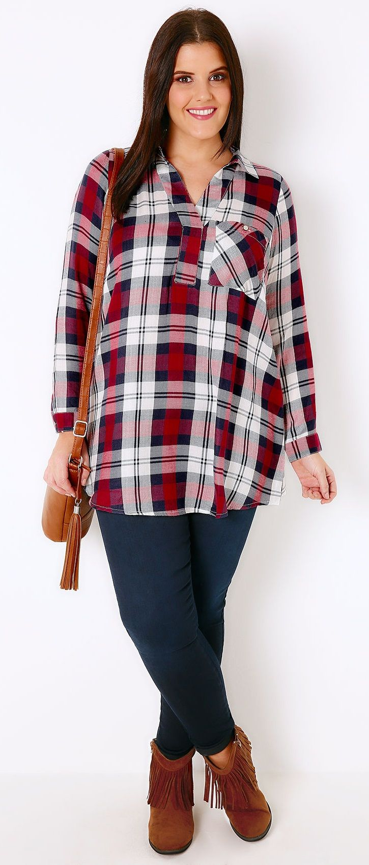 Plus Size Checked Shirt With V-Neck