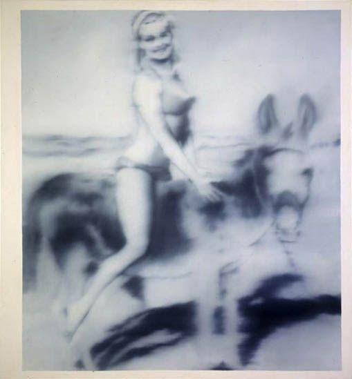 Gerhard Richter, Mädchen auf einem Esel (Girl on a Donkey) 1966, 70 cm x 65 cm, Oil on canvas
