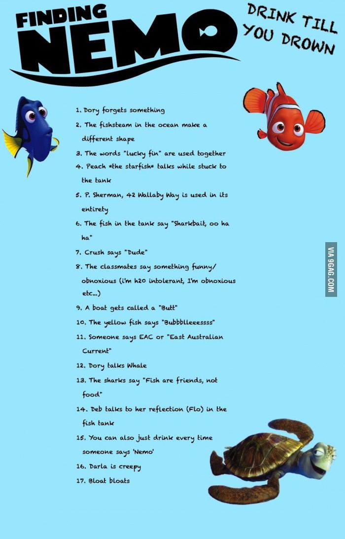 Finding nemo drinking game