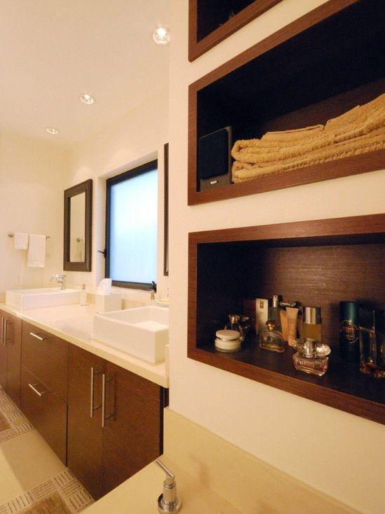 Charming Contemporary Design for Modern House: Fascinating Bathroom Wooden Vanity Design Casa Culver City