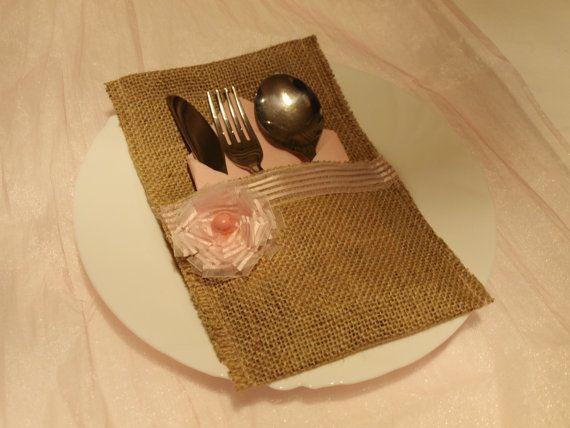 Burlap silverware holder cheap by jennylovelycrafts on Etsy