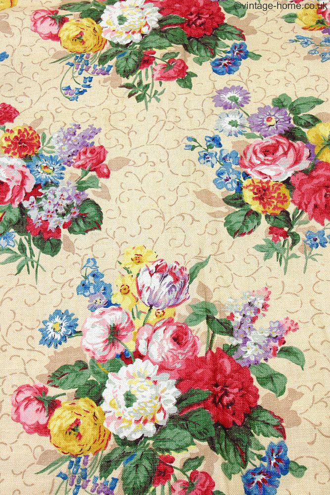 Vintage Home Shop - Beautiful 1930s Linen Fabric adorned with Gorgeous Cottage Garden Flowers: www.vintage-home.co.uk