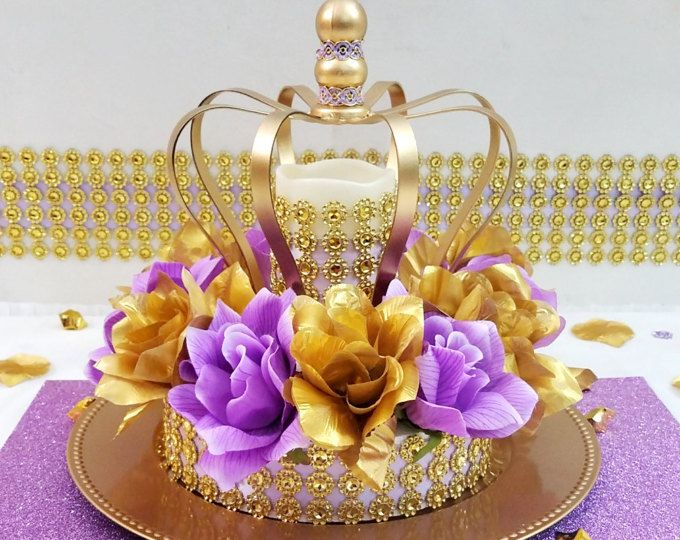 Crown Lavender and Gold Baby Shower Centerpiece / Girls Royal Princess Baby Shower Theme and Decorations