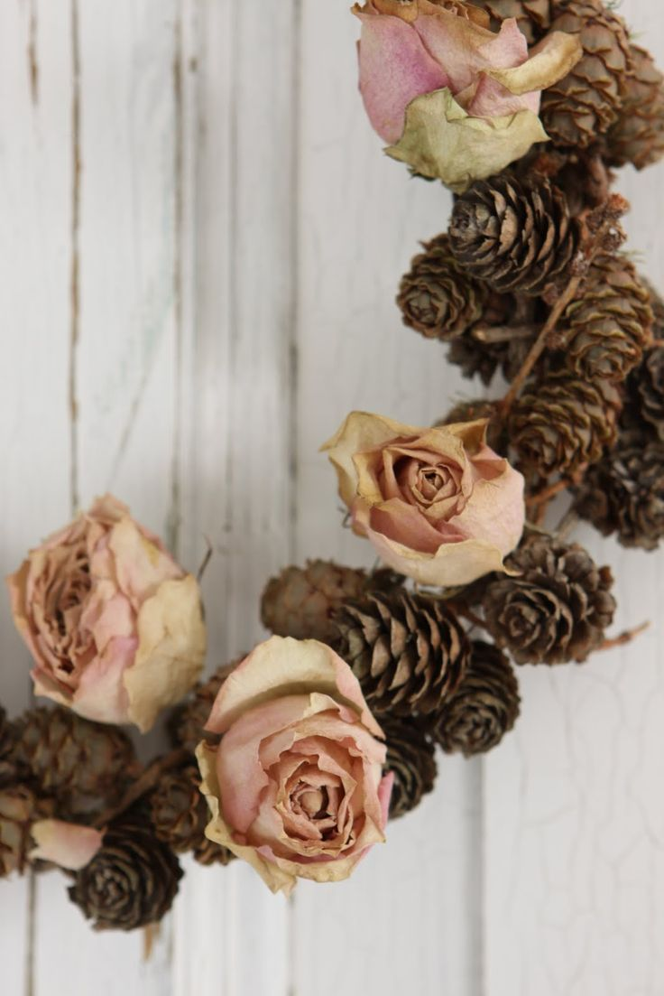 I must collect more pine cones - this with dried roses is beautiful!