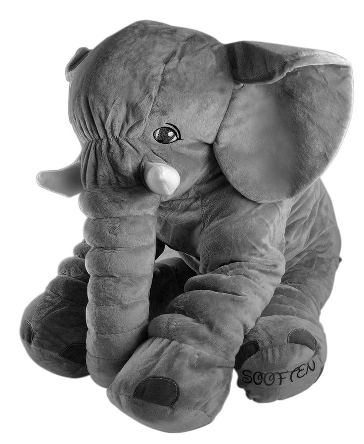 Sooften Big Xl Stuffed Elephant Pillow Plush Doll Pillow Grey 24 Inch/60Cm