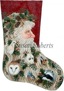 Santa and Critters - 13 Count Needlepoint Stocking Canvas