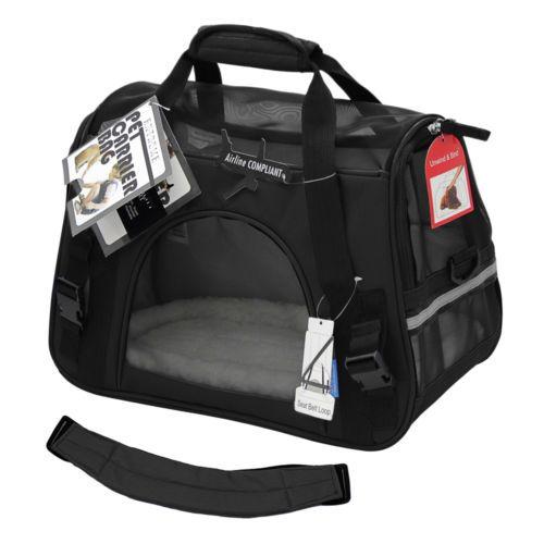 Pet-Carrier-Soft-Sided-Large-Cat-Dog-Comfort-Black-Travel-Bag-Airline-Approved