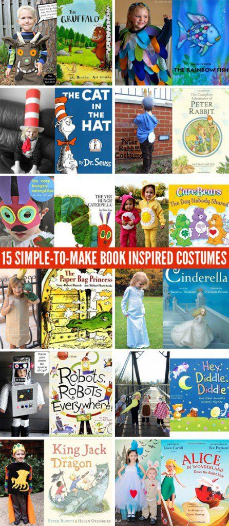 15 Simple-to-Make Book Inspired Kids Costumes for Book Week or World Book Day or Halloween.