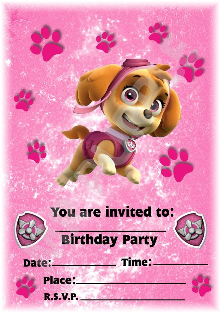 A5 NICK JR CHILDRENS PARTY INVITATIONS X 12 - PAW PATROL SKYE PINK PAW DESIGN in Home, Furniture & DIY, Celebrations & Occasions, Party Supplies | eBay