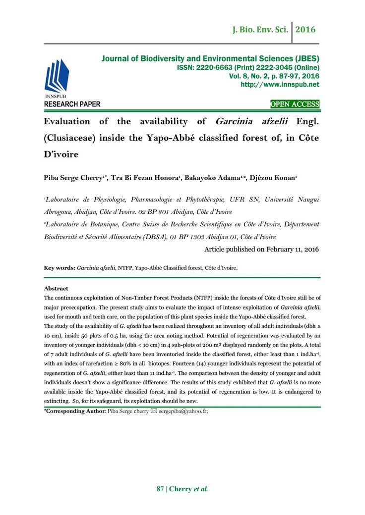 Evaluation of the availability of Garcinia afzelii Engl. (Clusiaceae) inside the Yapo-Abbé classifie