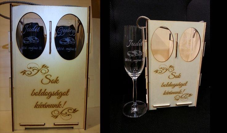 Egyedi gravírozott pezsgőspohár szett esküvőre vagy évfordulóra.   http://miskolcgravir.hu/galeria