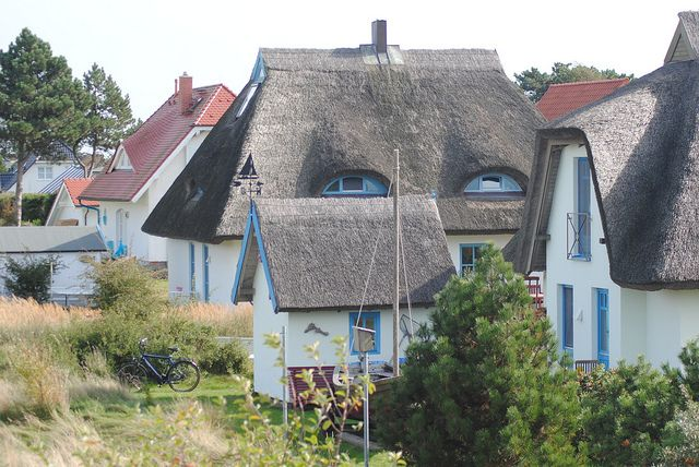 Hiddensee thatched cottages - This scene is at the village of Vitte.