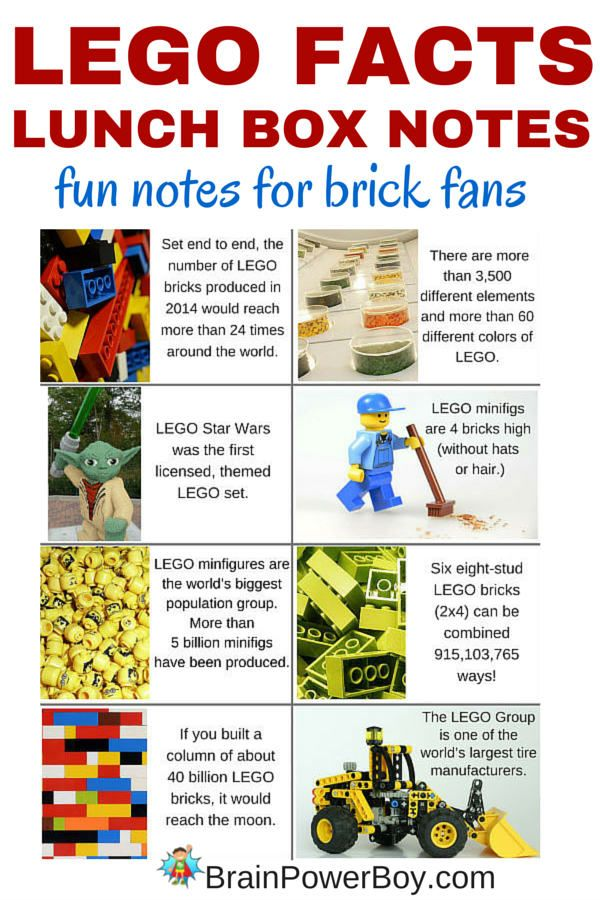 LEGO Lunch Box Notes with Fun Facts