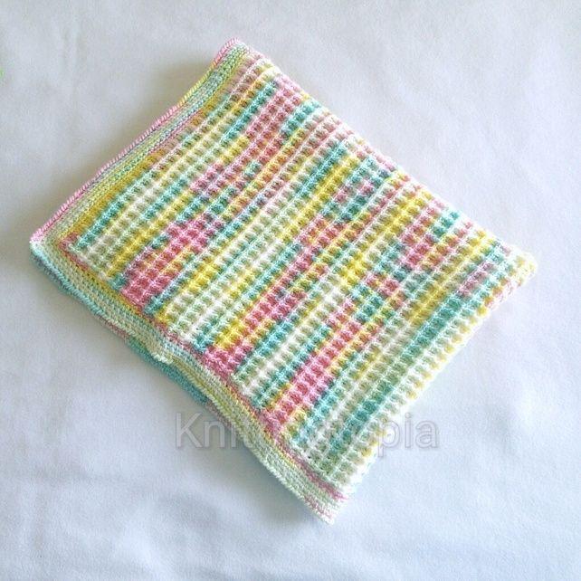 Hand crochet baby pram blanket waffle stitch spring summer pastel colours  £30.00