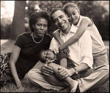 The Obama Family - Barack, Michelle, Malia, and Natasha - Starting the second term as President of the United States!