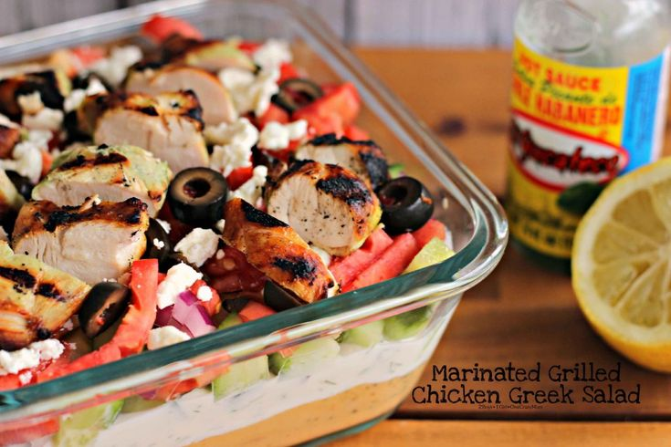 Grilled and marinated Chicken Greek Salad with El Yucateco Hot Sauce is our #KingOfFlavor this summer!