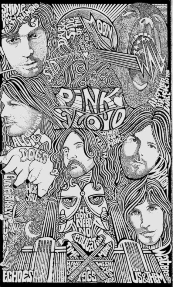 Pink Floyd Letterpress Art Print by Posterography by Posterography