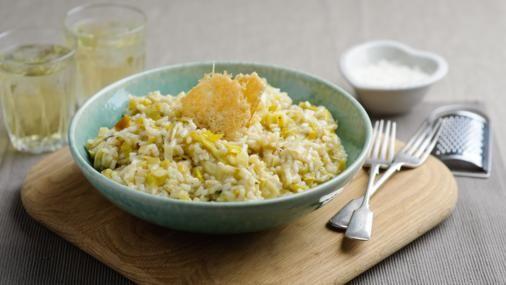 BBC Food - Recipes - Leek risotto with parmesan crisps