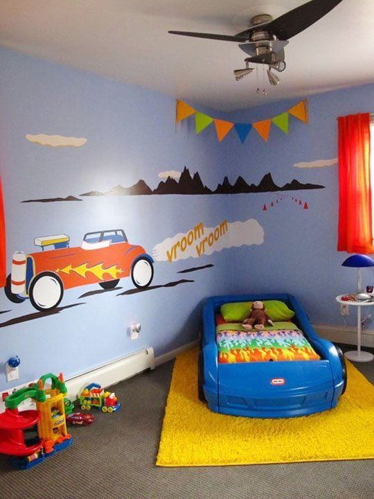 bold brave beautiful nursery murals boys bedroom carscar