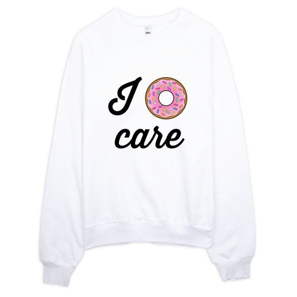 I Donut Care Sweater ($42) ❤ liked on Polyvore featuring tops, sweaters, donut, white fleece sweater, fleece sweater, crew neck sweaters, fleece tops and white top
