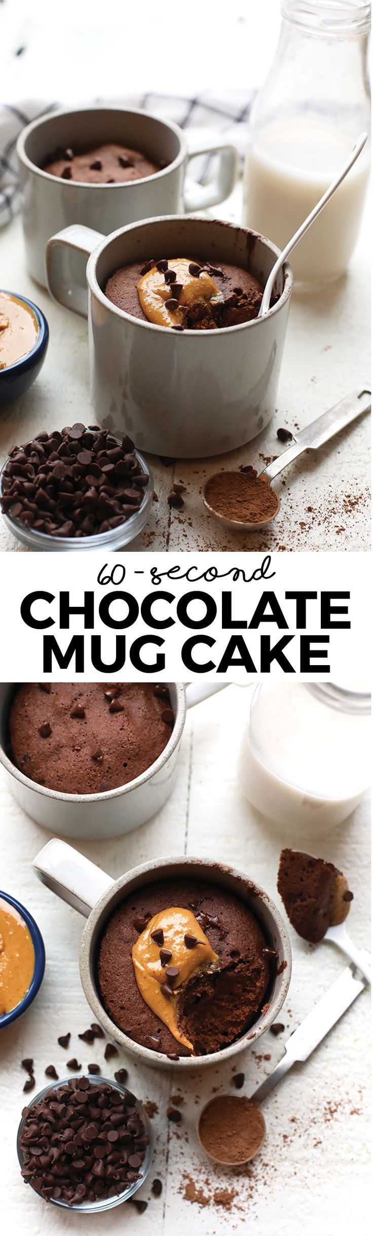 This single serve healthy chocolate mug cake is naturally sweetened and made with whole grains for an easy homemade treat!