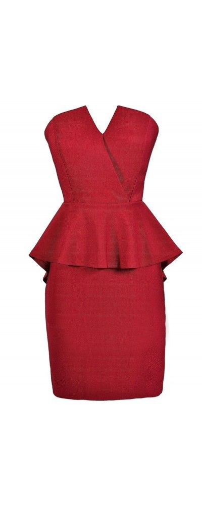 Pepped Up Strapless Crossover Peplum Pencil Dress in Wine  www.lilyboutique.com