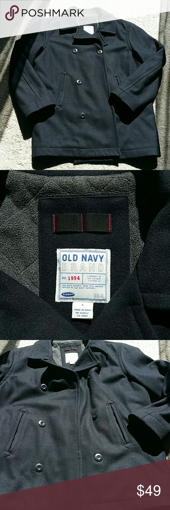 Men's Wool Pea Coat.  Fully lined,  Old Navy Black Wool,  double row of black buttons. Great condition,  Dry Clean Only Old Navy Jackets & Coats Pea Coats