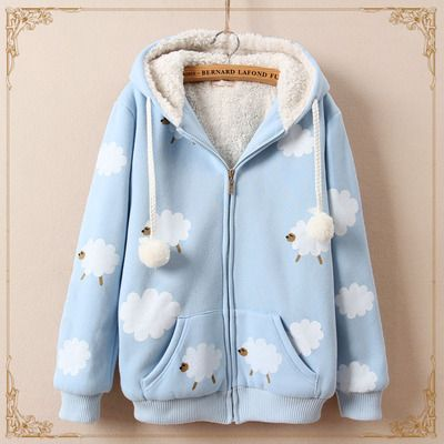Cute sheep fleece sweater hoodie coat