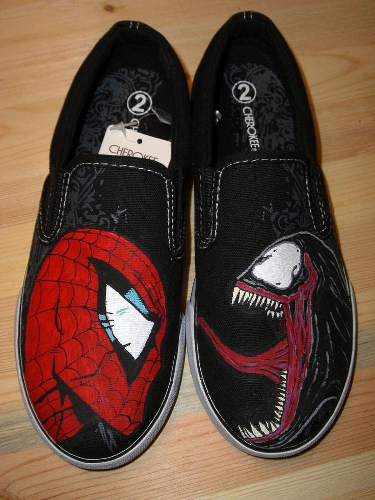 Handpainted SpiderMan vs Venom Shoes Vans - Mason would LOVE these!