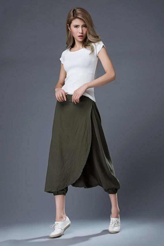 (wrap skirt front - GREAT) Green Linen Pants Casual Comfortable Harem Style by YL1dress