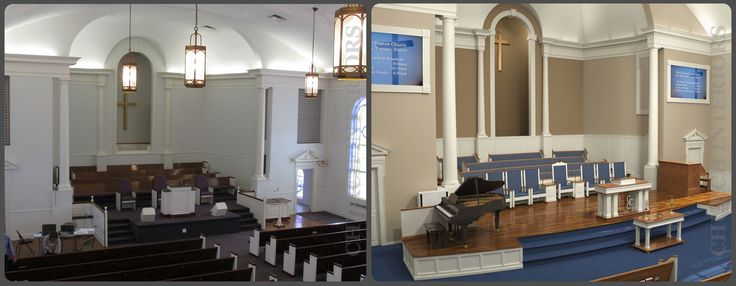 This shows how bringing in contrast adds interest and dimension to the chancel area.