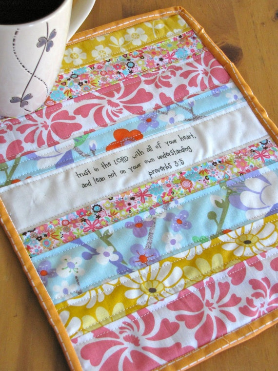Proverbs 35 Scripture Mug Rug/Mini Quilt by myfivelittlepeppers, $20.00