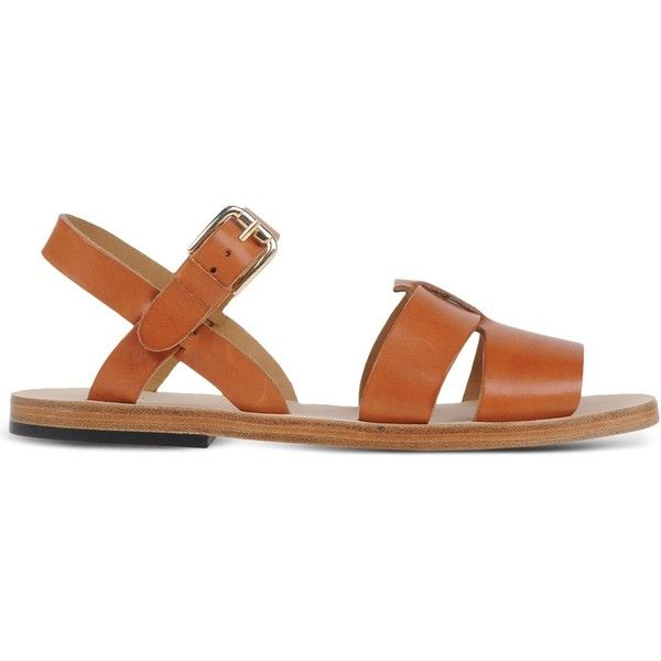 A.P.C. Sandals found on Polyvore featuring shoes, sandals, brown, a p c shoes, a p c sandals, brown sandals, buckle shoes and leather buckle sandals