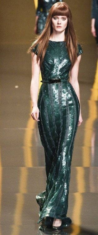 green sequin dress - elie ssab fw 2012