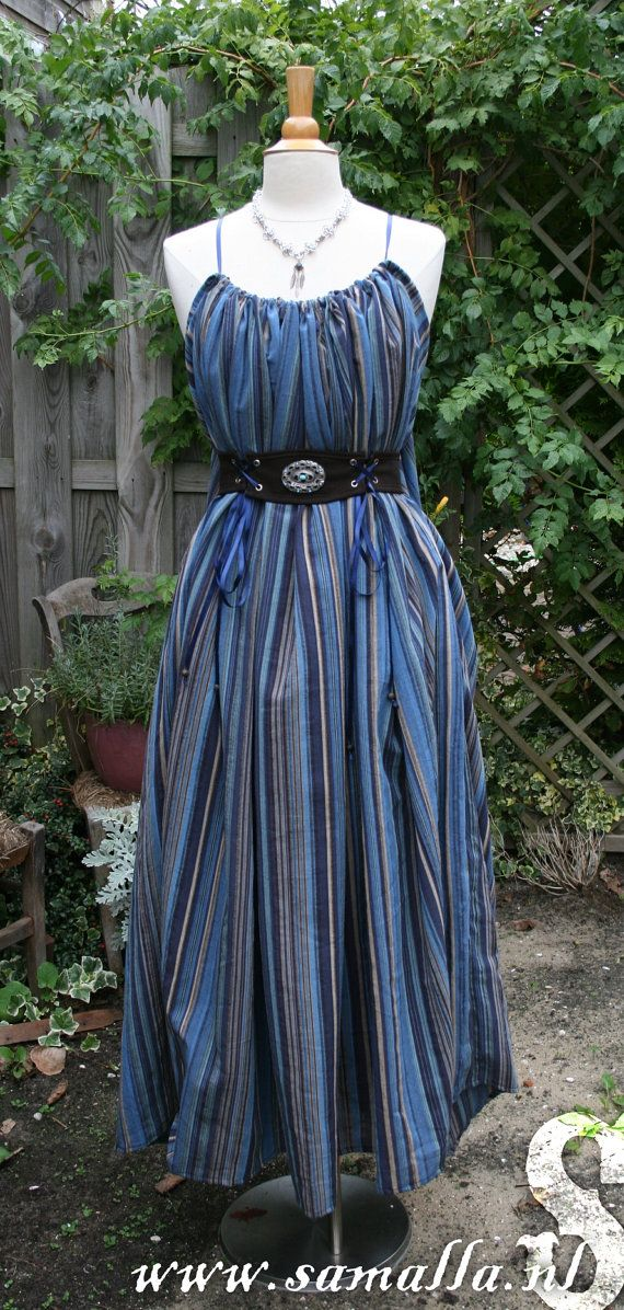 Shae Dress 'Winter Sky' in blue striped cotton with by SamallaNL