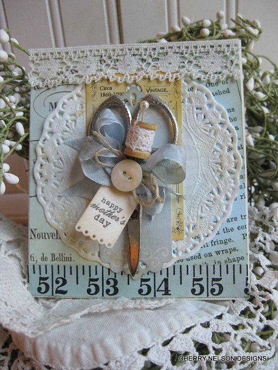 shabby sewing card-happy mothers day VINTAGE SCISSORS handmade card