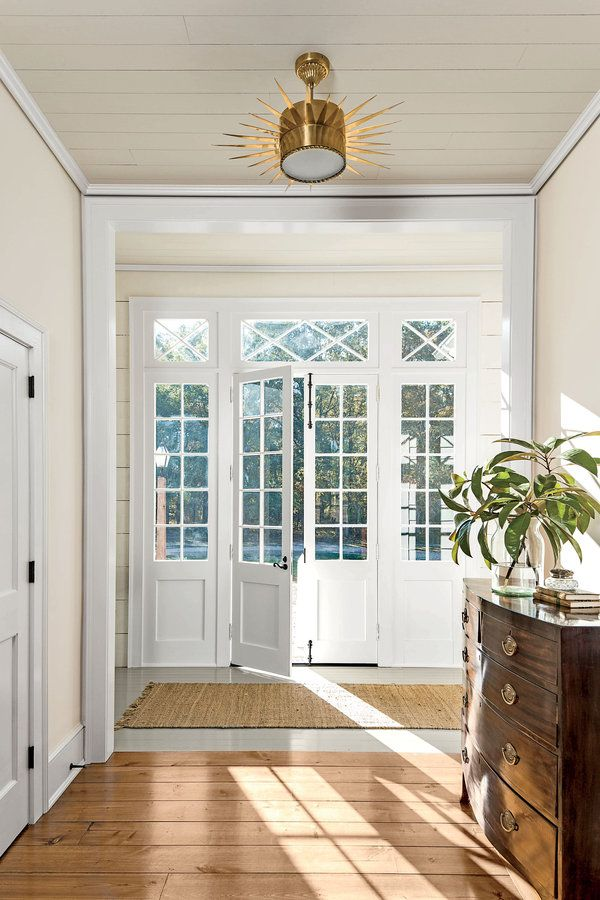 The Front Door   love this airy light filled entry with French Doors, side lights and transoms