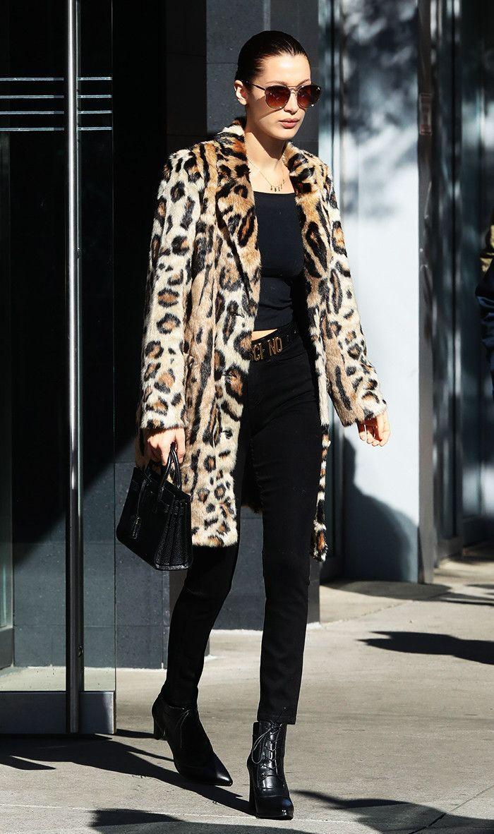 Bella Hadid Leopard print fur jacket with all black basics - celebrity street style