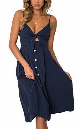 98d64de7d8e ECOWISH Womens Dresses Summer Tie Front V-Neck Spaghetti Strap Button Down  A-Line