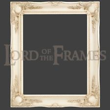 "3"" Ivory Shabby Chic Decorative Ornate Wood Swept Large Picture Frame 24x36"""