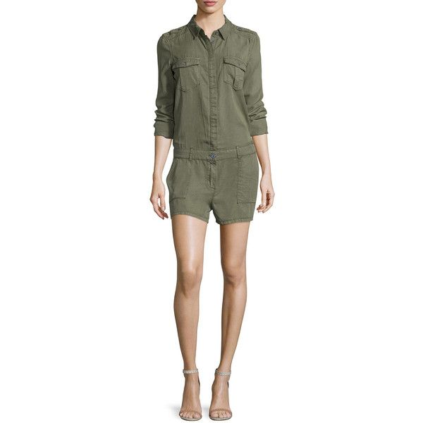 Paige Denim Evia Long-Sleeve Romper ($240) ❤ liked on Polyvore featuring jumpsuits, rompers, desert olive, long-sleeve romper, long sleeve romper, playsuit romper, long-sleeve rompers and paige denim