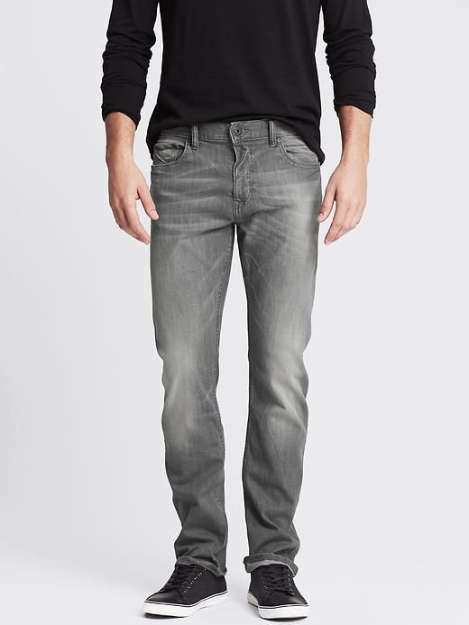 $38, Grey Jeans: Banana Republic Slim Light Gray Jean. Sold by Banana Republic. Click for more info: https://lookastic.com/men/shop_items/303115/redirect