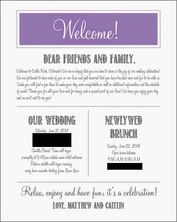 Our welcome letters for hotel guests!! Wedding Wednesday @Gail Regan Truax://justabowlofcherries.blogspot.com/