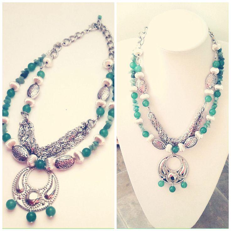 #handmade #statement #necklace #green #aventurine #healing #chakra #heartchakra #silver